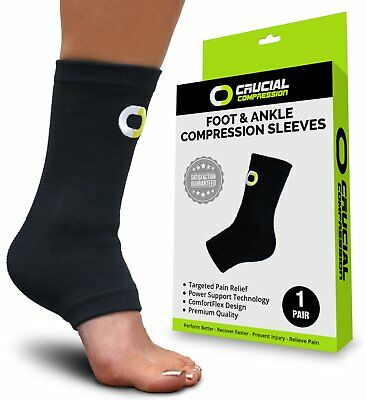 Ankle Brace Compression Support Sleeve (1 Pair) - BEST Ankle Compression (Best Ankle Support Brace)