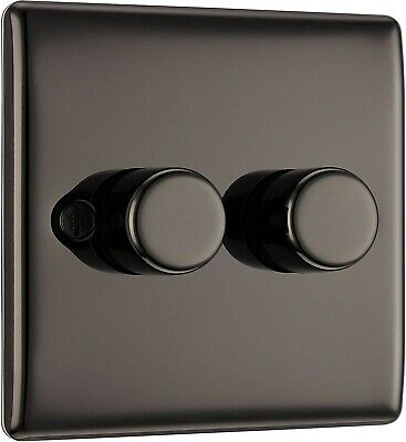 BG Electrical Double Dimmer Light Switch, Black Nickel, 2-Way, 400 Watts