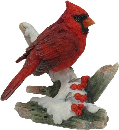 Cardinal Bird on Snowy Branch Decorative Statue Figurine 4.25""