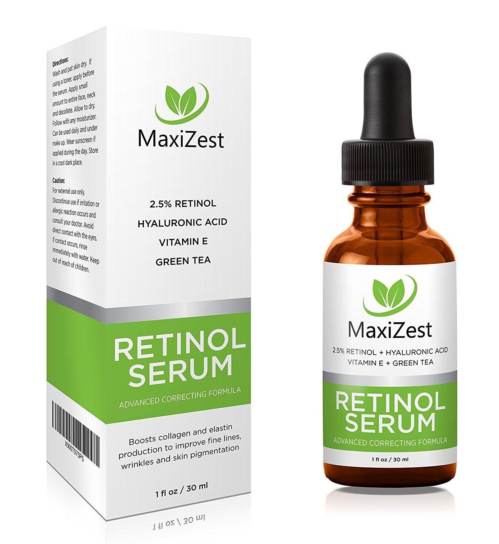 MaxiZest Retinol Serum 2.5% - With Hyaluronic Acid, Vitamin