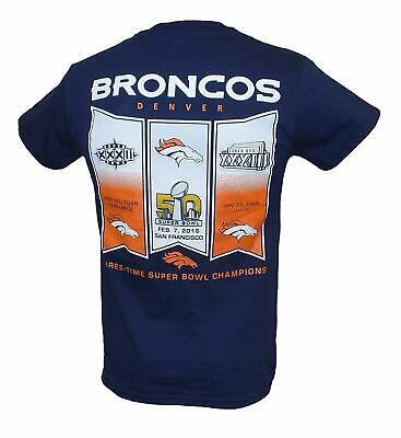 Denver Broncos 3 Time Super Bowl Champions Banner T-shirt- Blue