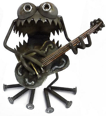 Sugarpost Gnome Be Gone Acoustic Guitar Player Welded Metal Art Made in USA