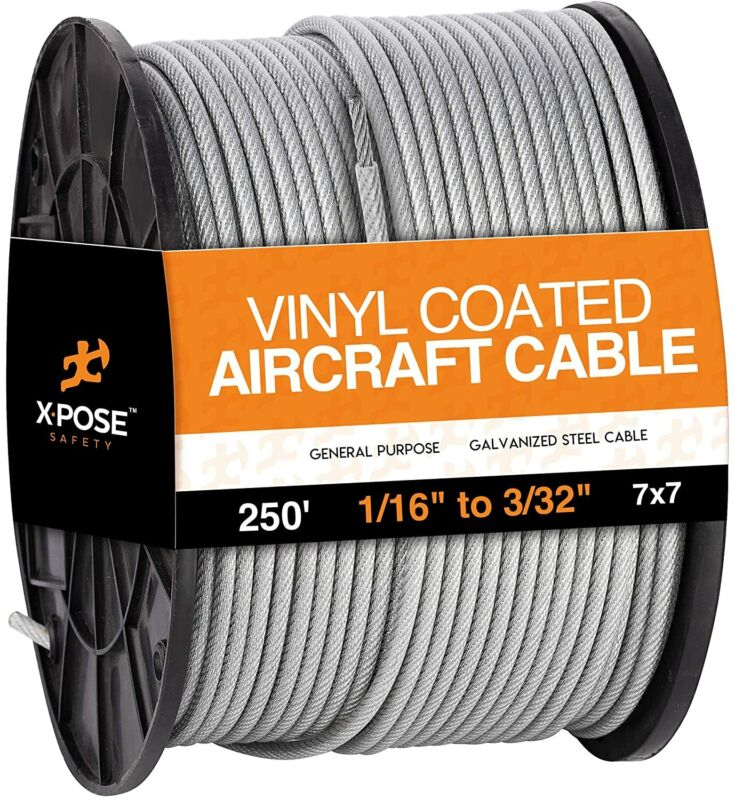 """7x7 Vinyl Coated Galvanized Steel Aircraft Cable Wire 250 ft - 1/16"""" to 3/32"""""""