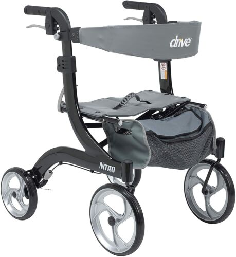 Drive Medical RTL10266BK-H Nitro Aluminum Rollator, Hemi Height, 10 Inch Casters