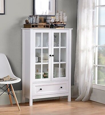 (White Wood China Hutch Curio Cabinet Kitchen Storage Display Glass Door Cupboard)