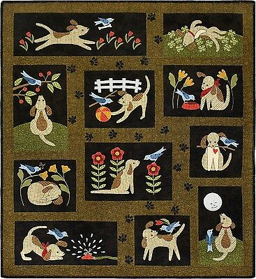 You Lucky Dog! Woolies Applique COMPLETE Quilt Pattern & Buttons Bonnie Sullivan