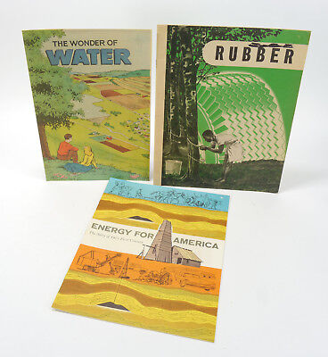 VTG Lot of 3 Industrial Comic Books - Water, Rubber, Energy for America  40s-50s