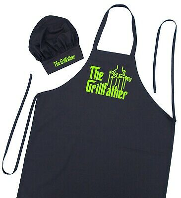 The Grillfather Apron And Chef Hat Set, BBQ Gift Ideas For Men, Grilling Aprons