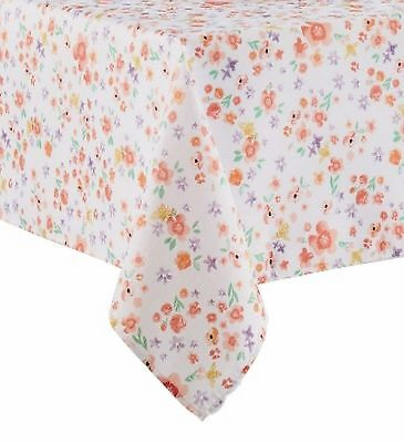 Celebrate Together Coral & Purple Floral Tablecloth Fabric Table Cloth 60X84 Ob](Coral Table Cloth)