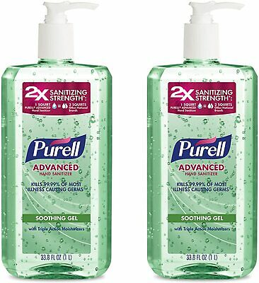 PURELL Advanced Hand Sanitizer Gel ALOE with PUMP, 33.8 oz / 1 liter, PACK OF 2