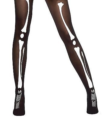 Ladies Black Tights with Bone Print Halloween Fancy Dress Skeleton Leg Accessory](Halloween Costumes With Tight Black Dress)