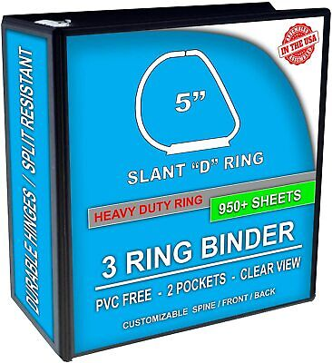5 - Inch Slant D-rings 3 Ring Binder Clear View Pockets. Black