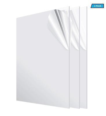 Adiroffice Clear Acrylic Plexiglass Sheet 18 X 24 X 48 Diy Sheets 3-pack