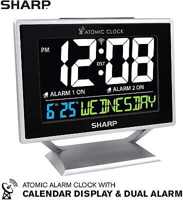 Atomic Digital Alarm Clock with Calendar - Silver - Sharp - SPC569