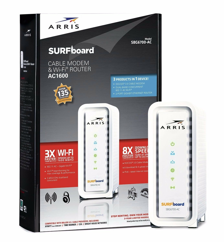 ARRIS SURFboard SBG6700AC DOCSIS 3 0 Cable Modem/ Wi-Fi