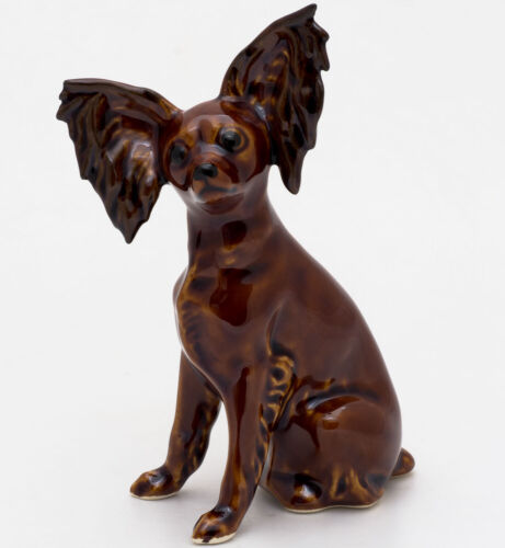 Porcelain Figurine of the Russian Russkiy Toy Long Haired Fox Terrier dog