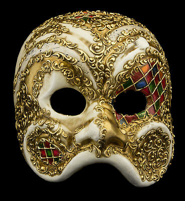 Mask from Venice Harlequin Mosaic Golden Paper Mache Man Top Range 22356