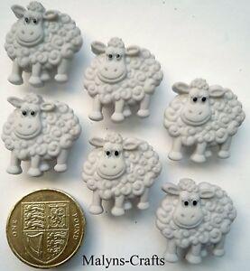 CUTE GREY SHEEP Craft Buttons 1ST CLASS  POST Animal Baby Lamb Farm Farmyard