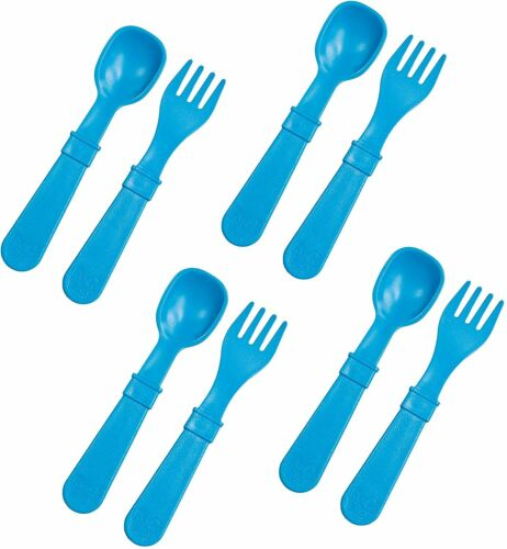 8pk Toddler Feeding Spoon and Fork Set  Made from BPA Free Eco Friendly Recycled