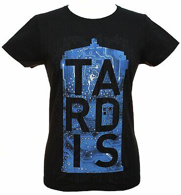 Womens Juniors Black Doctor Who TARDIS Circuit Board Licensed T-Shirt Tee T -