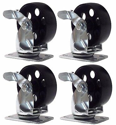 4 Lot Steel Metal Swivel Plate Caster With Brake Lock Heavy Duty 3 Wheel
