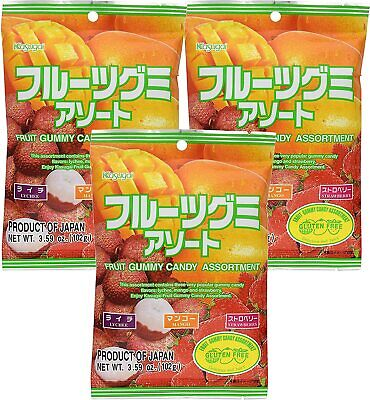 Kasugai Japanese Fruit Gummy Candy Lychee Mango Strawberry 3.59oz ( 3 Pack ) Kasugai Mango Gummy
