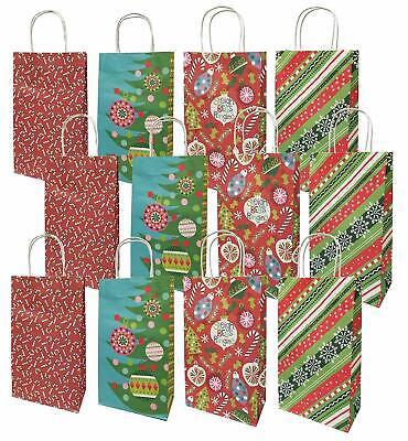Christmas Medium Gift Bags White Kraft, 12 Pack ,Sleigh Bells Ringing Medium White Gift Bags
