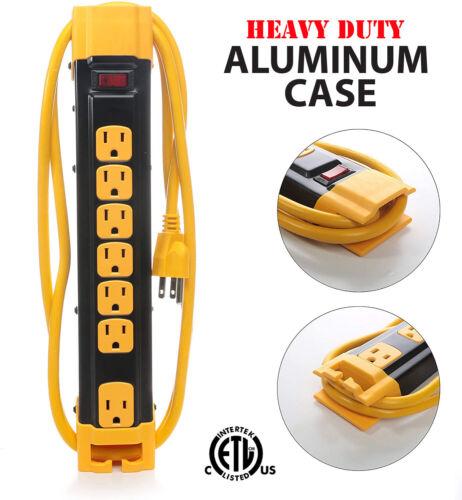 Heavy Duty Aluminum Case 7 Outlets Power Strip Surge Protector Cord Reel ETL 6FT