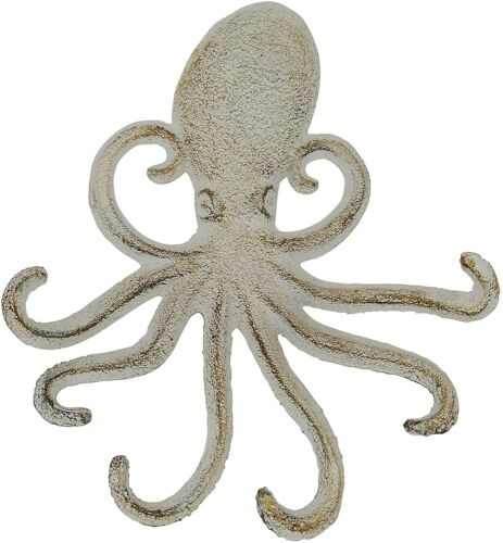 """Silver/White 6.5"""" X 6"""" Cast Iron Wall Hook Tentacles Octopus Squid Rustic Decor"""
