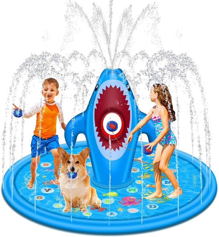 Splash Pad Sprinkler Pool for Kids Outdoor Water Play Mat with Sandbags Fun Game