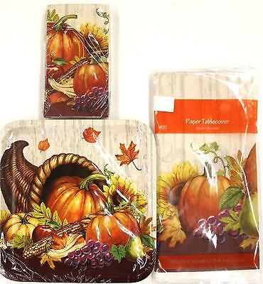 Thanksgiving Pumpkin Fall Plates Napkins Table Cloth Cover Party Supplies 10pc ](Thanksgiving Paper Tablecloths)
