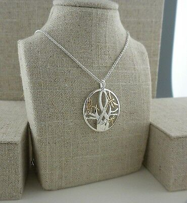 Sterling Silver& 10K Dragonfly in Reeds Pendant Keith Jack  Jewelry