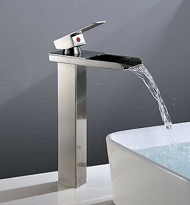 Brushed Nickel Bathroom Sink Faucet Vessel Waterfall One Hole/Handle Mixer Taps