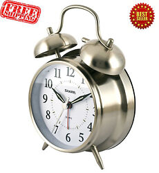 Vintage Twin Bell Alarm Clock Loud Wake Ring Analog Quartz Old Fashion Backlight