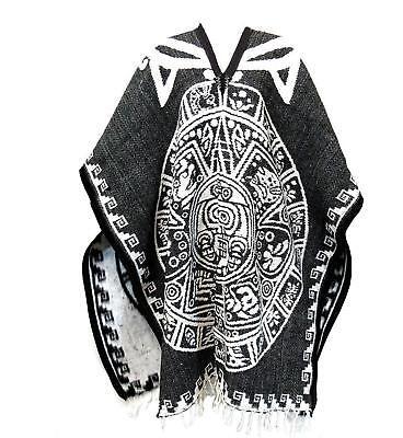 Aztec Costume Halloween (Authentic Hand Made Mexican Aztec Calendar Poncho Halloween Costume BRAND)
