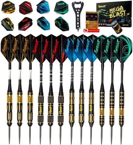 IgnatGames Brass Steel Tip Darts Set - Professional Darts Mega Blast (12 pack)