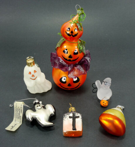 Vintage Mixed Lot of Halloween Ornaments - Blown Glass - Stacked Pumpkins, Ghost
