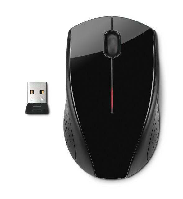 NEW HP X3000 Wireless Optical Mouse Premium Design USB Glossy Black 2.4Ghz