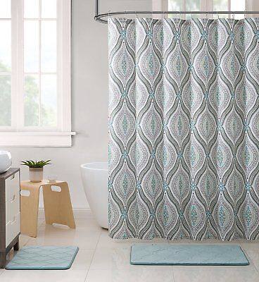 Elegant Blue Brown Neutrals Fabric Shower Curtain: Teardrop Paisley Print for sale  Sharon