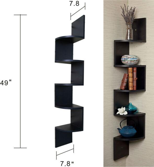Black Corner Wall Shelf black floating shelves finish corner zig zag wall shelf | ebay