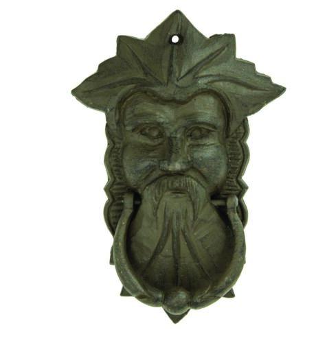 """7-1/4"""" H Door Knocker Cast Iron NORTHWIND Green Man Face Door Knocker Verdigris"""