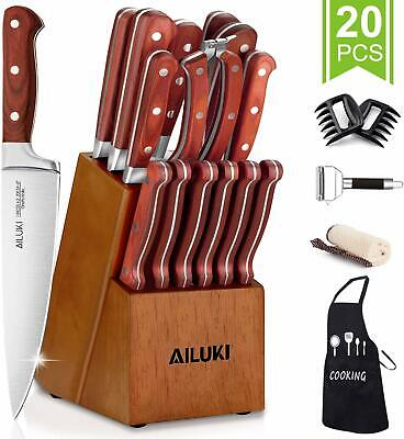 Knife Set, 20-In agreement Kitchen Knife Set with Block Wooden German Stainless Steel