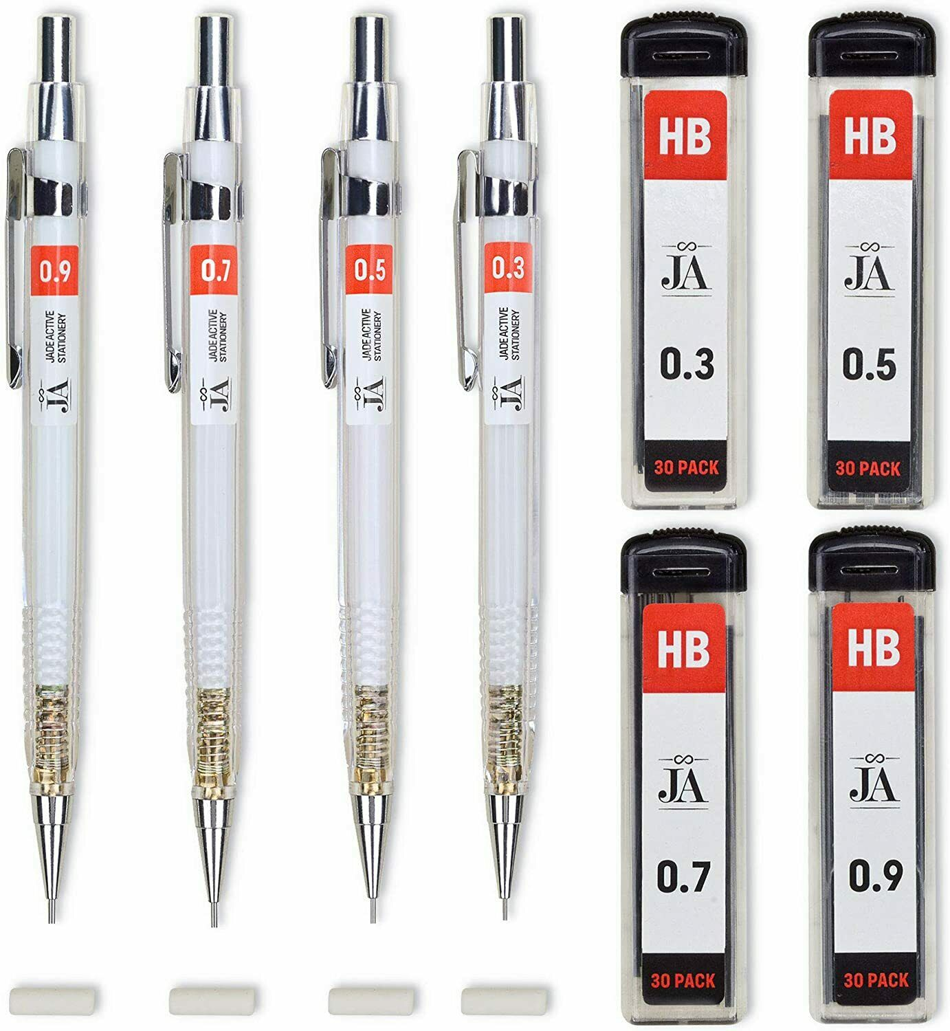 Each Mechanical Pencil Erasers Thicknesses 30 Lead Refills D