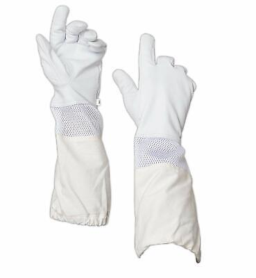 Clearance- Leather Beekeepers Glove Wvent Canvas Sleeve Elastic Cuff-xxxxl