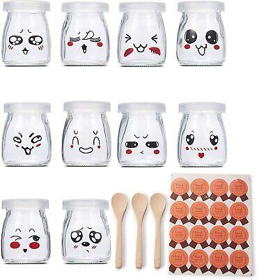 Joghurtgläser 10x Gläser mit Deckel, Gläser für Vorspeisen und Desserts 100ml