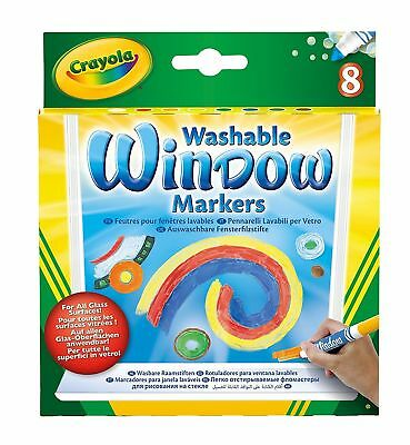 Crayola 58-8165 8 ct. Washable Window Markers 8 Different Colors For Kids New
