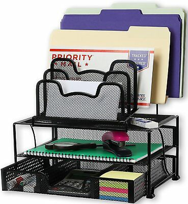 Black Mesh Desk Organizer - Mesh Desk Organizer with Sliding Drawer,  Black