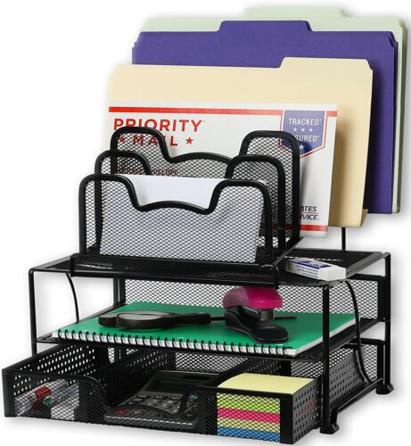 Mesh Desk Organizer with Sliding Drawer,  Black