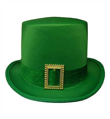 Costume With Top Hat (St. Patricks Day Top Hat Green Satin With Buckle Adult Leprechaun Costume)