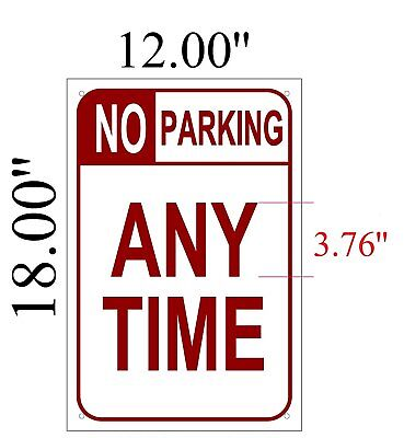 No Parking Any Time Sign Aluminum Sign 12 Wide 18 High-ref-am
